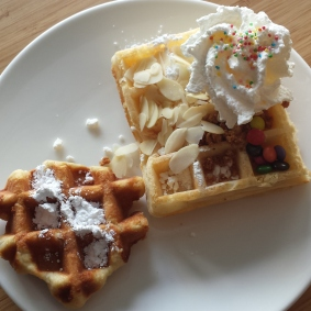 Waffles! There were so many toppings, but I just went with the tamest ones. :)
